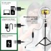 PATONA 26cm LED körfény körlámpa VLOG ringlight - kamera kör lámpa + 110 cm tripod